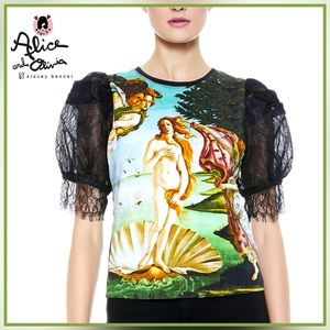 🏷 🆕 Alice + Olivia Graphic Lace Sleeve Blouse